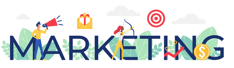 Marketing word vector illustration. Cartoon flat marketer people standing next to big Marketing lettering, successful campaign promotion in social media and audience analysis concept isolated on white
