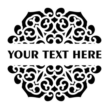 Vector simple black split monogram mandala with abstract elements, isolated on white background. Oriental ethnic ornament black mandala. Vector design pattern element. Simple floral pattern element.