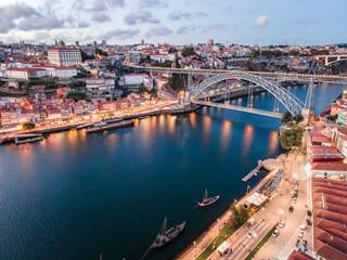 Fototapeta Aerial cityscape of Porto and Vila Nova da Gaia with connecting bridge, Portugal