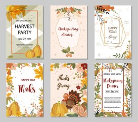 Thanksgiving day greeting cards and invitations and seasonal greetings design.