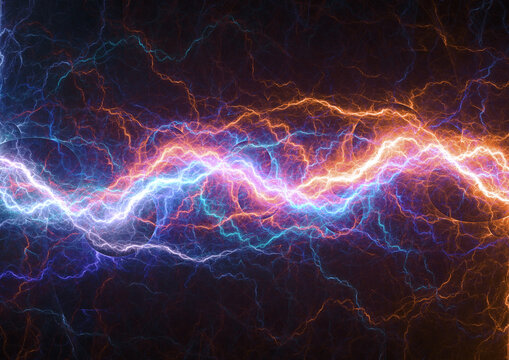 Fire and ice plasma, abstract lightning background