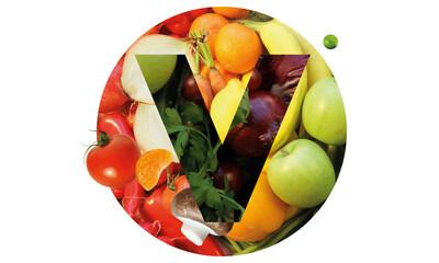 Collage aus pflanzlichen Lebensmitteln, Vegan