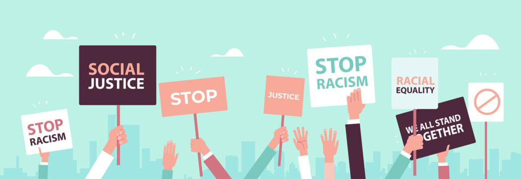activists holding stop racism posters racial equality social justice stop discrimination concept horizontal vector illustration