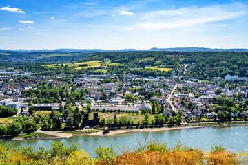 Blick von der Erpeler Ley über Remagen, Deutschland