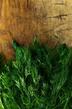 Fresh dill on wooden board