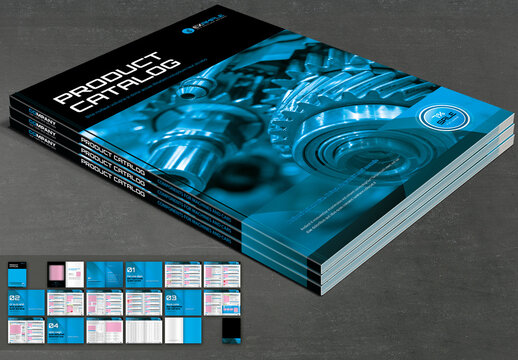 Product Catalog Layout with Blue and Black Design