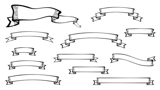 手書き風のレトロなリボンのイラスト素材セット_シルエット