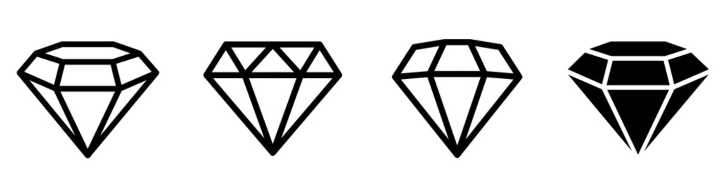 Diamond Icons set. Diamonds collection. Flat and line style icon. - stock vector.