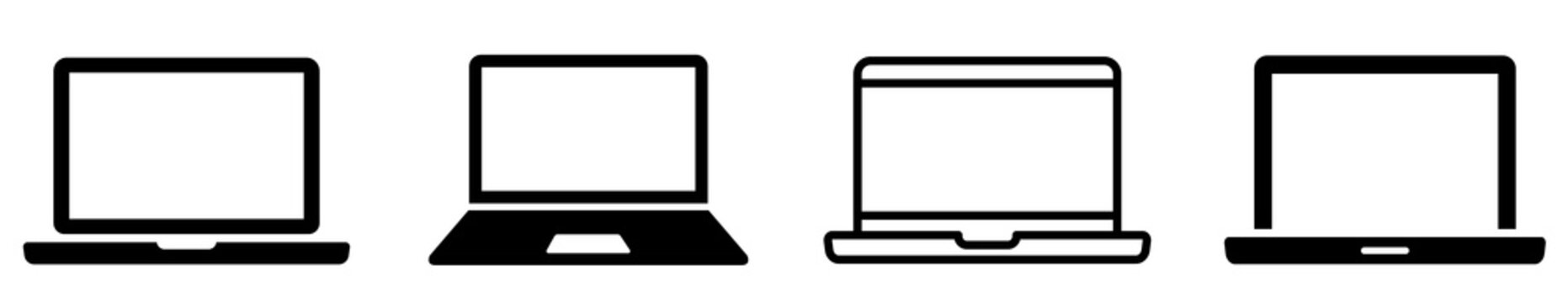 Laptop icons set. Laptop different style. collection Laptops or notebook computer. Flat and line icon - stock vector.