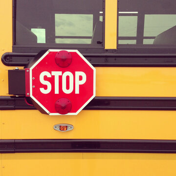 School Bus: Stop Sign on Side of Bus