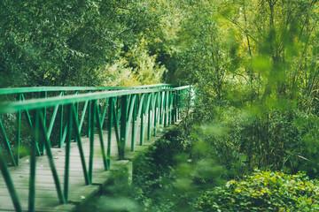 A metal green bridge in the woods, la mitjana, lleida, spain.