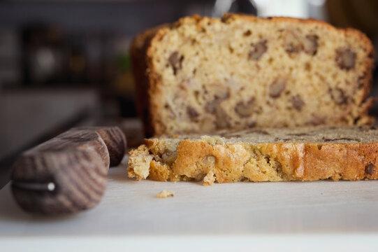 banana bread on a cutting board