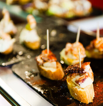 Typical Spanish snack 'pinchos'.