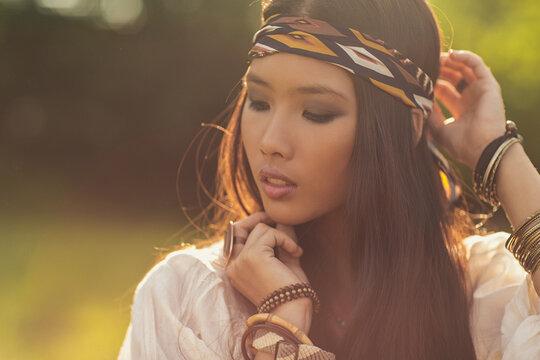 Hippie Asian Woman Outdoors