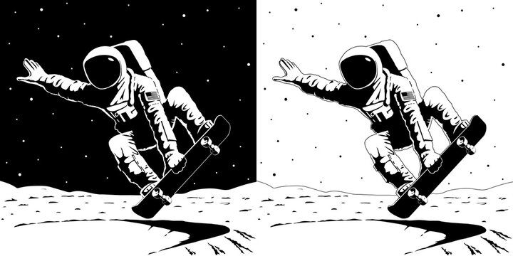 Vector Astronaut with american flag chevron on spacesuit riding a skateboard in the crater bowl on the bright side of the Moon Performs the trick indy grab lien crossbone frontside