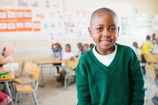 Cute African school girl in a classroom