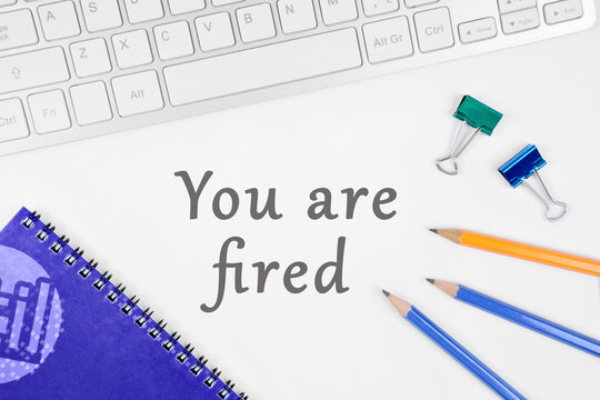 You are fired on a white background