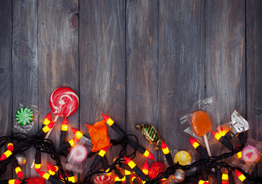 Halloween: Candy and Candy Corn Lights Background