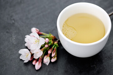 Food: Green tea and japanese cherry blossom