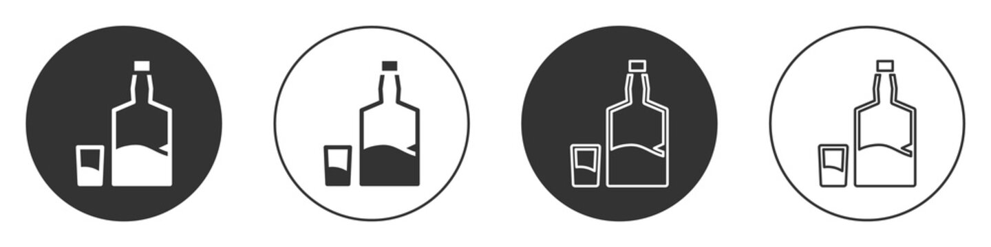 Black Tequila bottle and shot glass icon isolated on white background. Mexican alcohol drink. Circle button. Vector.