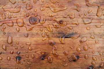 Wood backround with raindrops