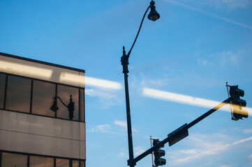 building, street light, and reflection Fotomurales