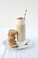 Chocolate chip cookies with a glass of latte