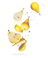Whole and sliced fresh pears in the air on a white background