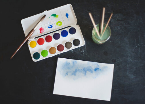 display of watercolor supplies
