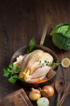 preparing raw chicken