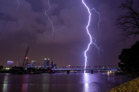 Lightning Over Arkansas River at Little Rock