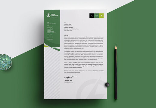Minimal Business Letterhead with Green and Black Accents