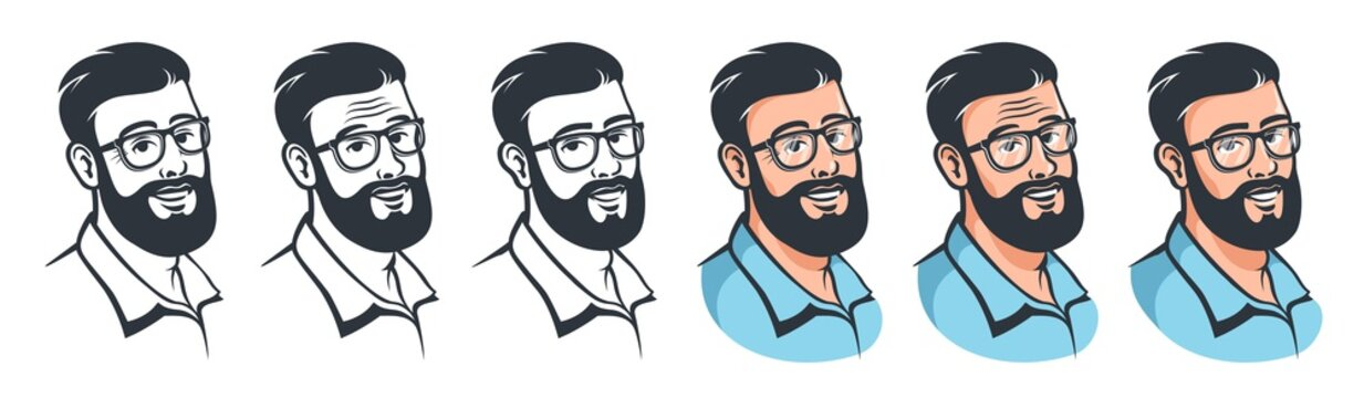 Man with beard and glasses - retro style. Male head with hipster hairstyle vintage avatar. Cartoon vector illustration.