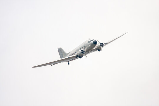 Historical military aircraft of world war 2 in the white sky