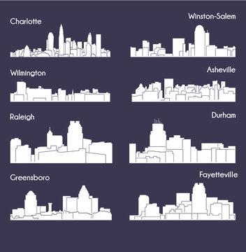 8 city in North Carolina ( Charlotte, Raleigh, Asheville, Wilmington, Greensboro, Winston-Salem, Durham, Fayetteville )
