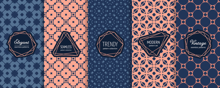 Vector geometric seamless patterns. Set of vintage background swatches with elegant modern labels, stickers. Abstract floral ornament textures collection. Blue and coral color. Elegant design template