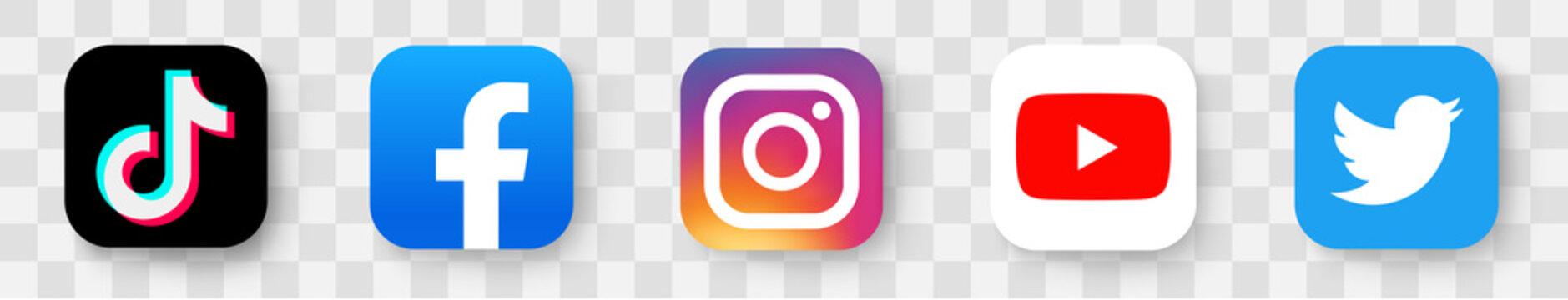 Realistic social media logotype collection: Tik Tok, facebook, instagram, twitter, youtube. Social media tiktok icons. - stock vector editorial.
