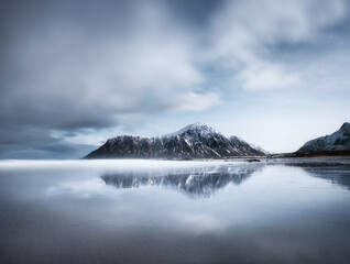 Printed roller blinds Asia Country Skagsanden beach, Lofoten islands, Norway. Mountains, beach and clouds. Long exposure shot. Night time. Winter landscape near the ocean. Norway - travel