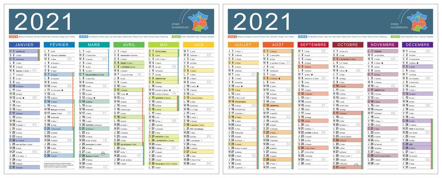 CALENDRIER 2021 coloré modifiabe (base pour 265x210mm R-V) lunes, fêtes, fériés, vac,… typo arial narrow vectorisé et non vecto., 21 calques