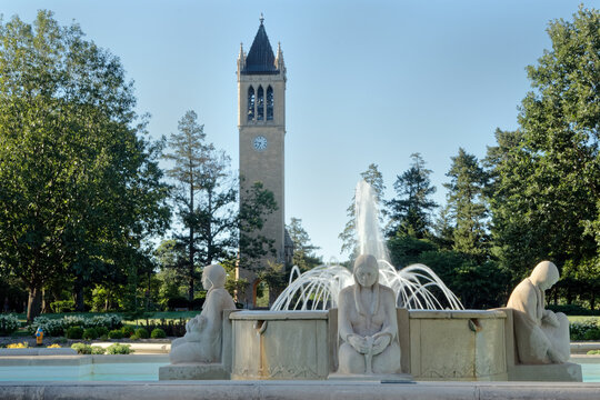 July 1st, 2017, Ames, Iowa: Fountain of the Four Seasons and Campanile