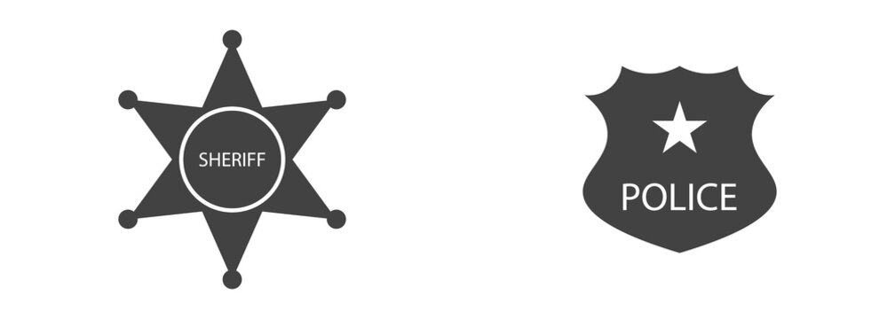 vector set of police badge and sheriff icons