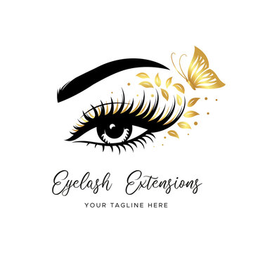 Eyelash extension logo. Makeup with Golden butterfly and leaves. Vector illustration in a modern style