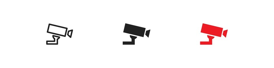CCTV, simple icon set. Security camera concept illustration in vector flat