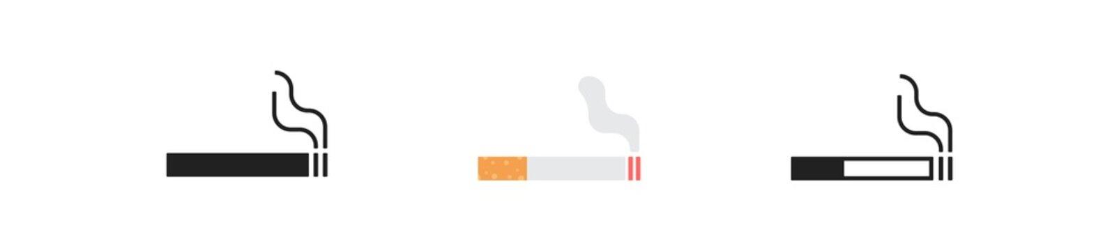 Cigarette, simple icon set. Tabbacco smoke concept illustration in vector flat