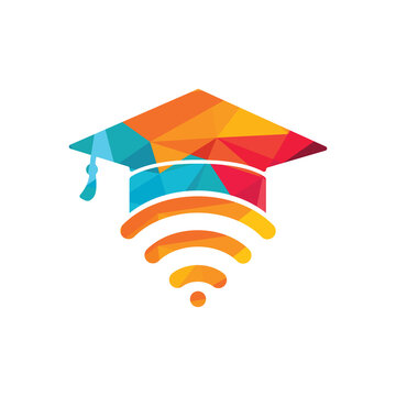 Graduate hat and wifi vector logo design. Study online logo concept.
