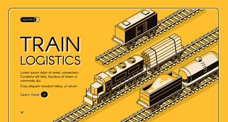 Train logistics service isometric vector website