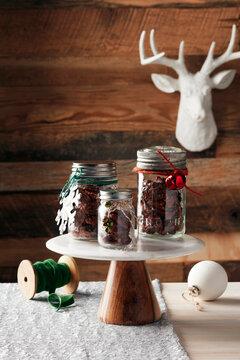 mixed nuts in mason jars festive