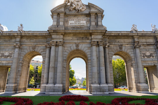 Beautiful view of Alcala gate empty in Madrid Spain during sunny day