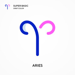 Aries super basic orbit color vector icon. Illustration symbol design template for web mobile UI element. Perfect color modern pictogram on editable stroke.