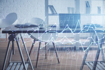 Multi exposure of stock market chart drawing and office interior background. Concept of financial...